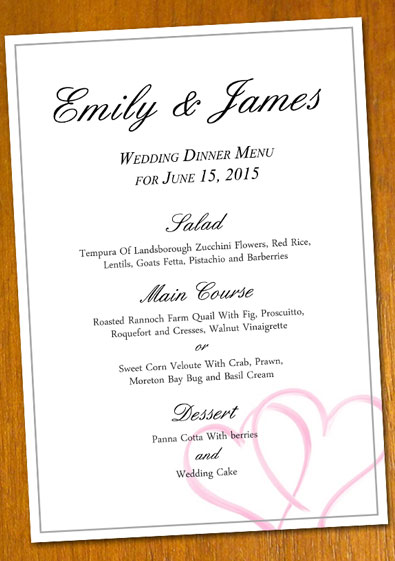 wedding menu samples templates - Goalgoodwinmetals