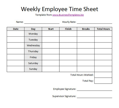 Free Sample Weekly Employee Time Sheet Template - sample payroll timesheet