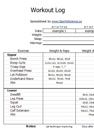 Free Sample Weight Lifting Log Template