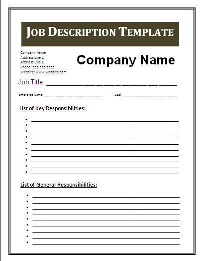 Job Summary Examples rockcuptk – Job Description Sample
