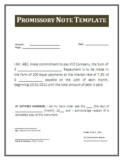 Promissory Note Template Real Estate – Student Promissory Note Sample