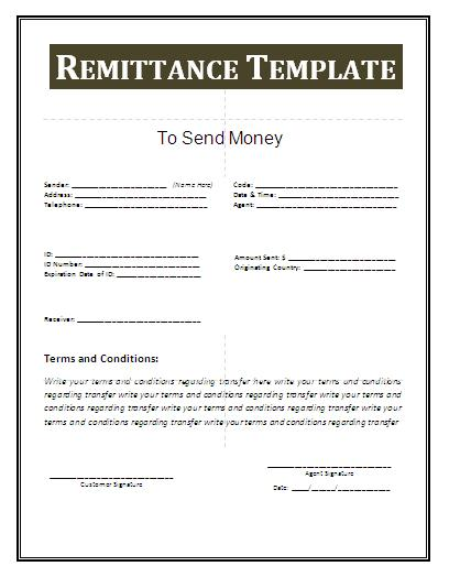 payment remittance template