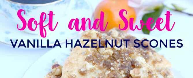 This vanilla hazelnut scones recipe is soft + sweet.