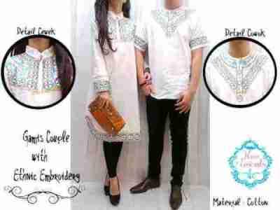 Baju Couple Muslim Putih Bordir Gamis Couple Muslim Etnik