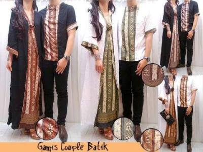 Gamis Couple Pesta Batik Maxi Dress Muslim Etnik Katun Kombinasi