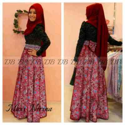 Sifon Batik Pesta Baju Gamis Batik Kombinasi Sifon Model Busana