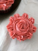 My Cupcakes Roses for Valentine's Day or my  Red Velvet Pomegranate cupcakes with Pomegranate Swiss Meringue Buttercream .