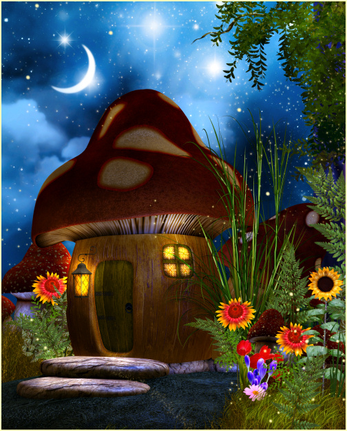 3d Mushroom Garden Wallpaper Download Fairy Mushroom House Tubes Butterflywebgraphics