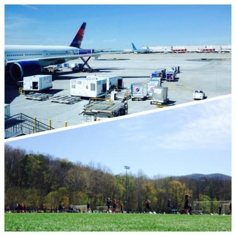 Saturday, April 11. 11:30am. Preparing for takeoff in Atlanta. / Playing soccer under blue skies.