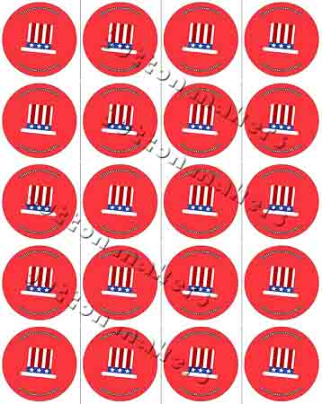 Printable Button Art - Uncle Sam Hat