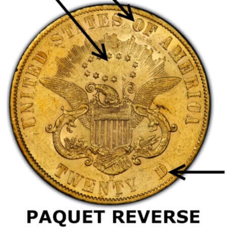 historic gold coins like the 1861 Liberty Gold Double Eagle with Paquet reverse