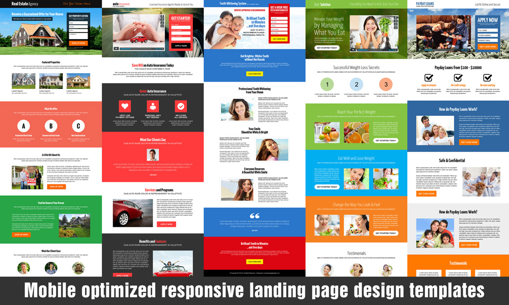Any 3 responsive landing page design templates for $99