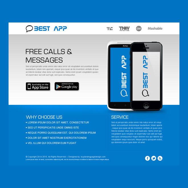 Application landing page design templates example to boost sale
