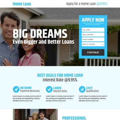 best deals for home loan online application lead capturing landing page design