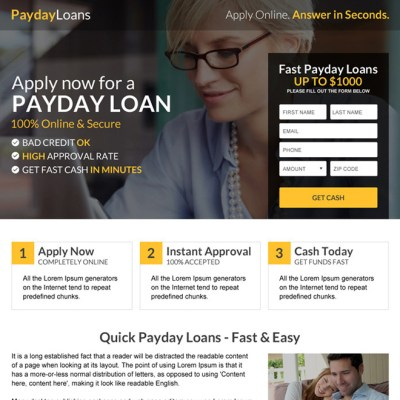 Payday loan lead capture landing page design templates