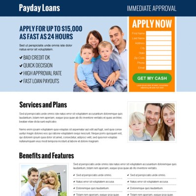 Payday loan landing page design templates for payday loan business conversion page 2