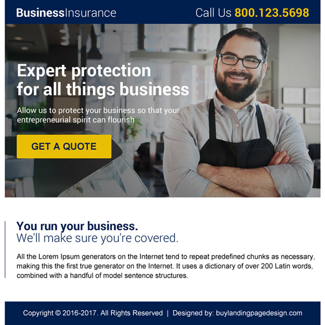 converting online business insurance ppv landing page design to - business quote generator