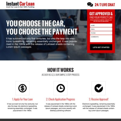 auto financing landing page design templates to capture leads