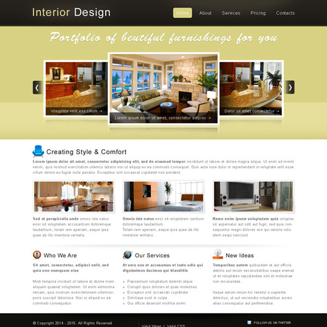 Creative  best website template psd for sale to create your website - interior design web template