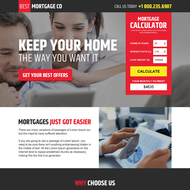 modern mortgage landing page design with mortgage calculator