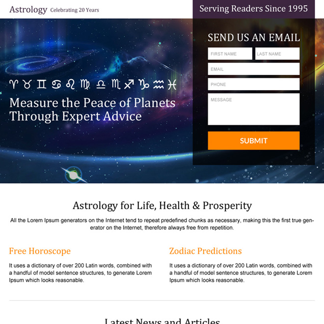 responsive astrology landing page design templates