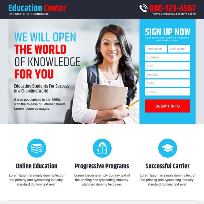 online education service responsive landing page design