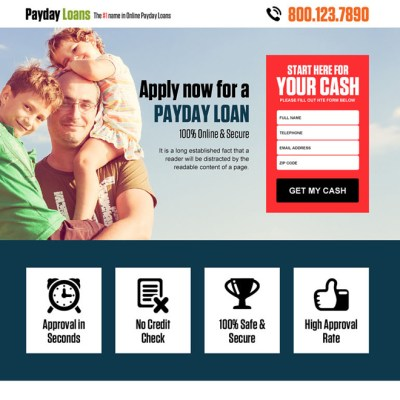 Payday loan landing page design templates for payday loan business conversion