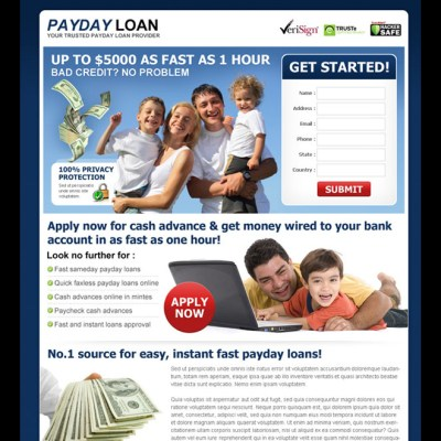 Payday loan lead capture landing page design templates page 4