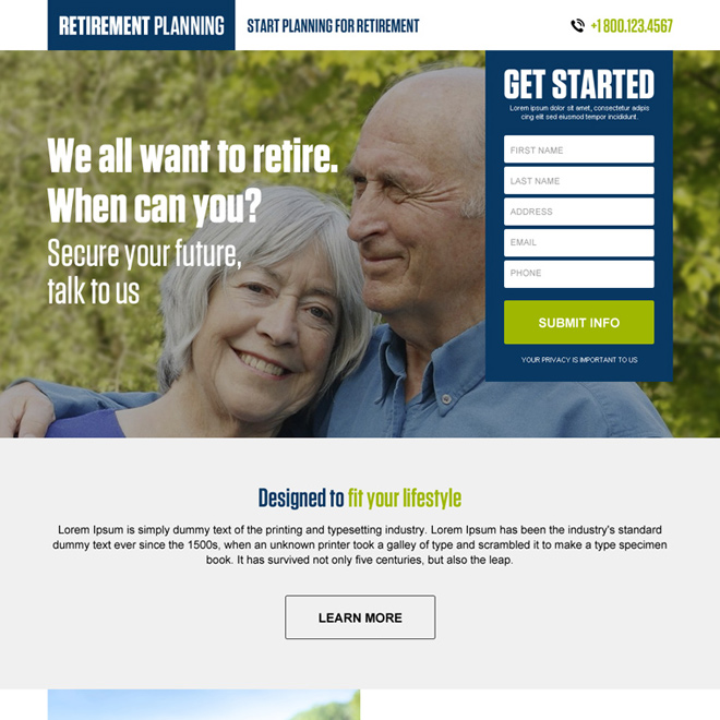 Clean retirement planning business landing page design to boost your