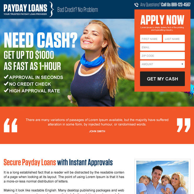Payday loan landing page design templates for payday loan business - loan templates