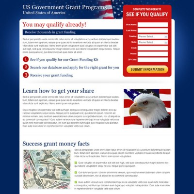 The best government grants landing page design templates