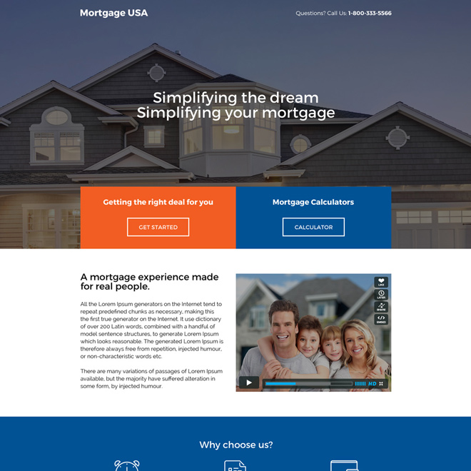 clean and minimal mortgage landing page design