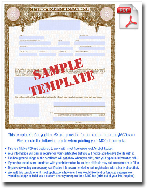 Downloadable MCO Template \u2022 Buy Manufacturer Certificate of Origin\u0027s