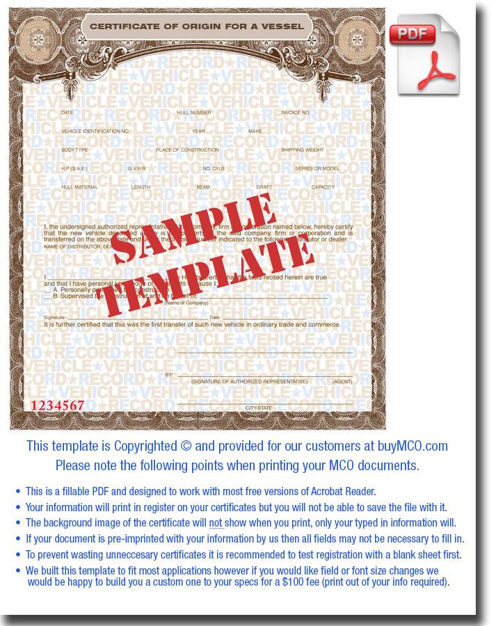MCO Template for Vessel \u2022 Buy Manufacturer Certificate of Origin\u0027s