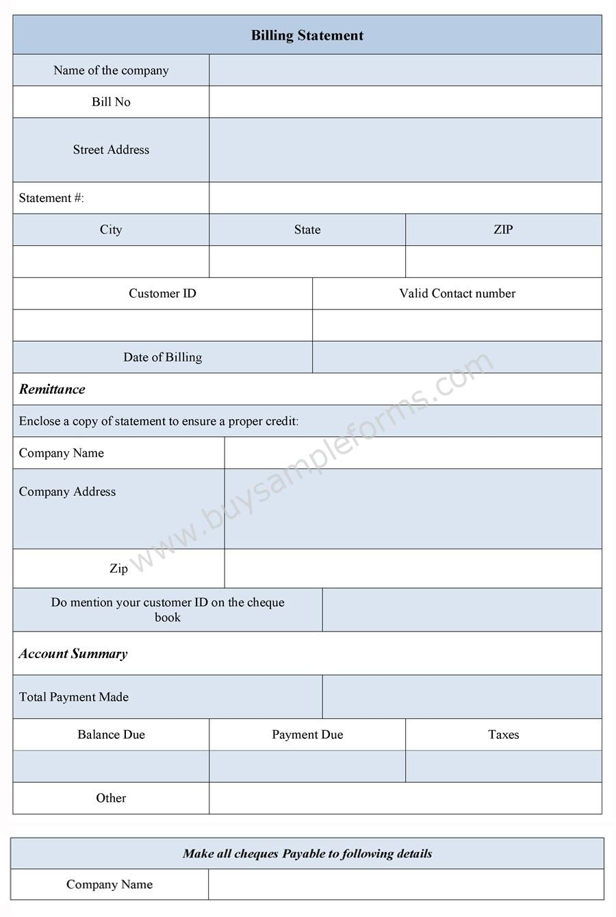 Bill Of Sale Form Dmvorg Billing Statement Form Bill Statement Template Sample Forms