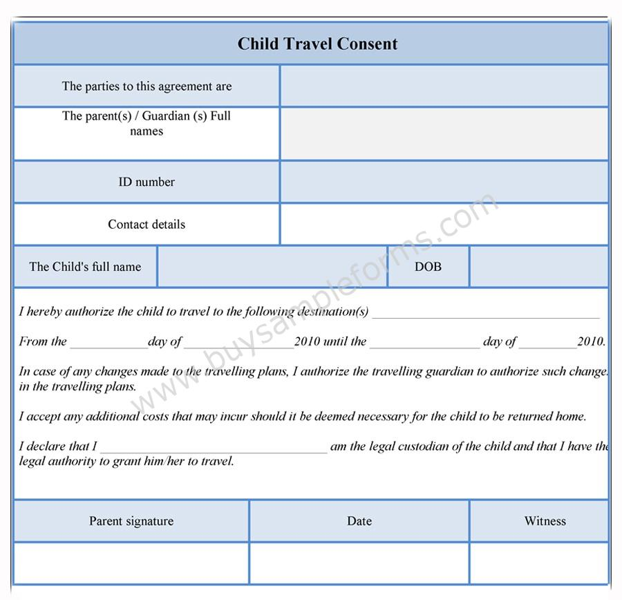 Child Travel Consent Form Consent Form Template - permission form template