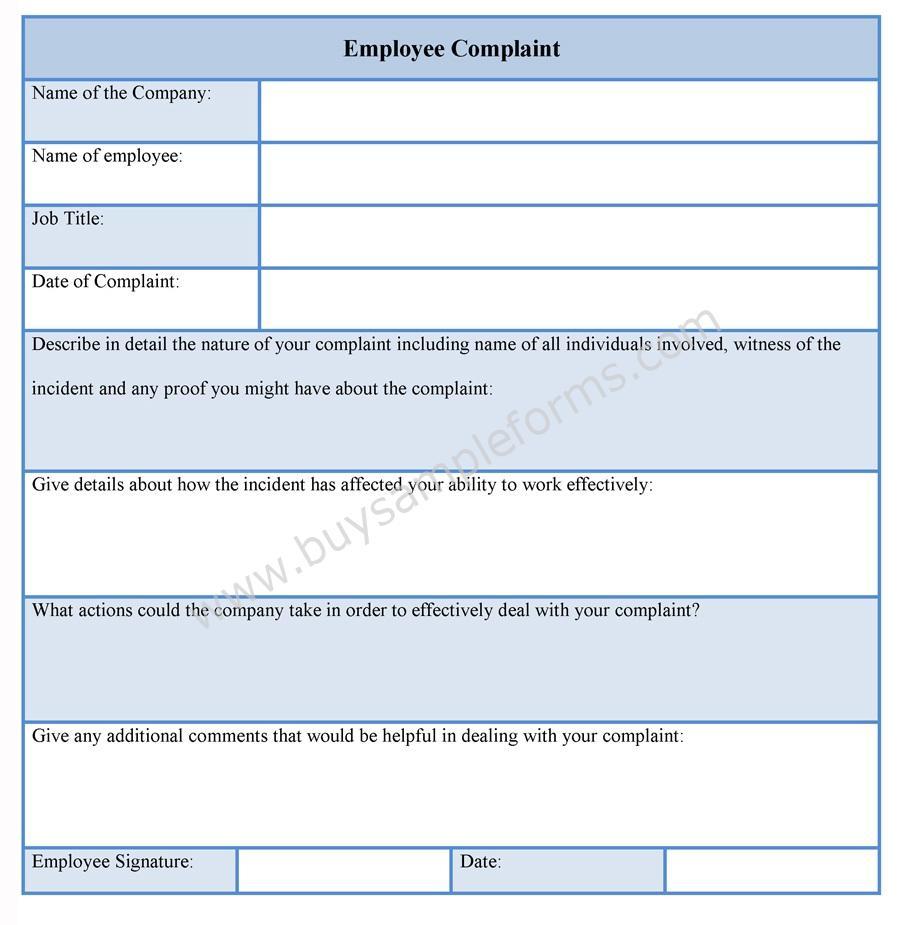 Sample Employee Complaint Form – Customer Complaints Form Template