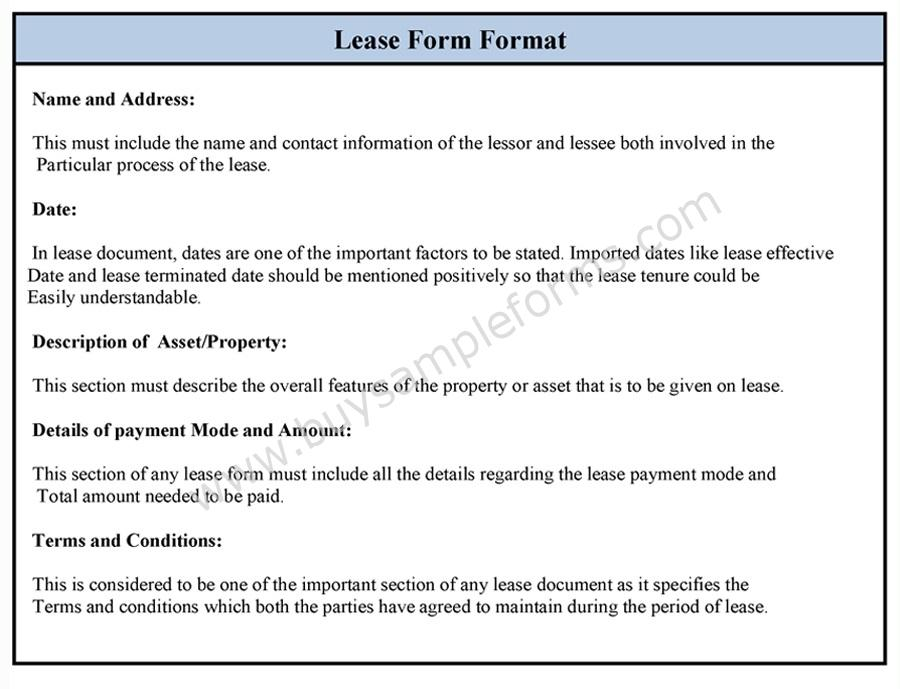 Lease Form Format Sample Format of Lease