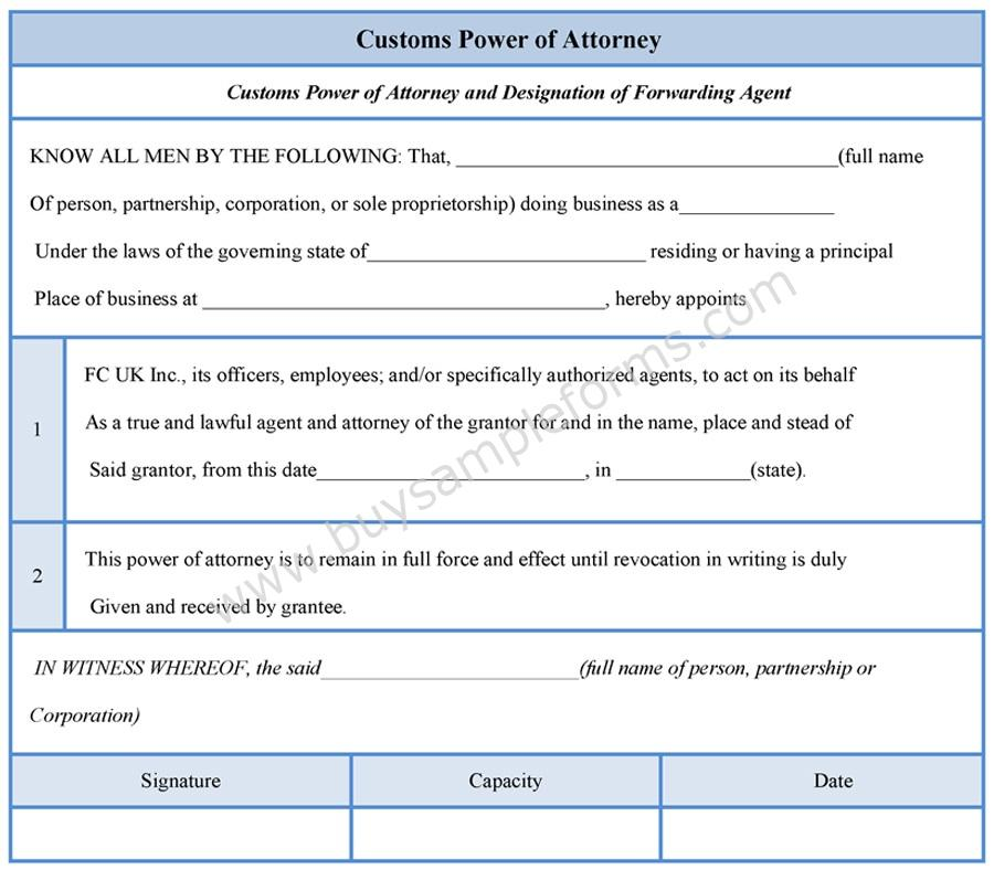 Customs Power of Attorney Form - Sample Forms