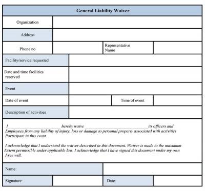 Basic Liability Waiver Form - cv01billybullock - generic liability waiver and release form