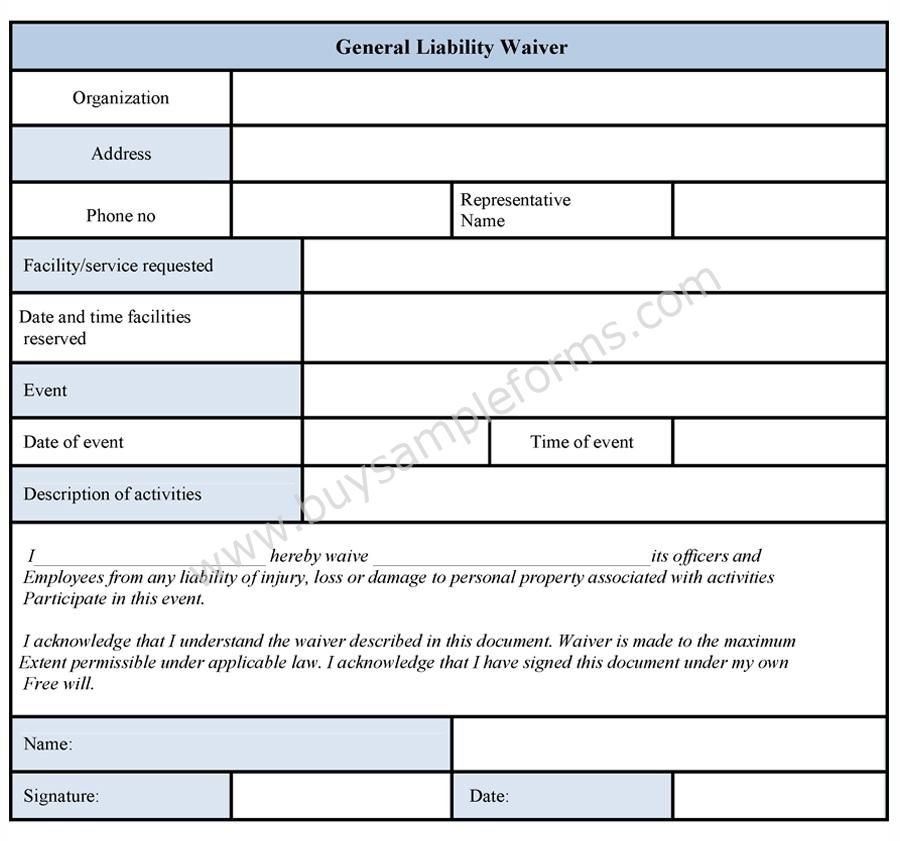 General Liability Waiver Form - liability waiver template word