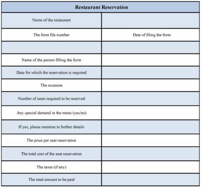 Buy Sample Forms \u2014 Restaurant Reservation Form