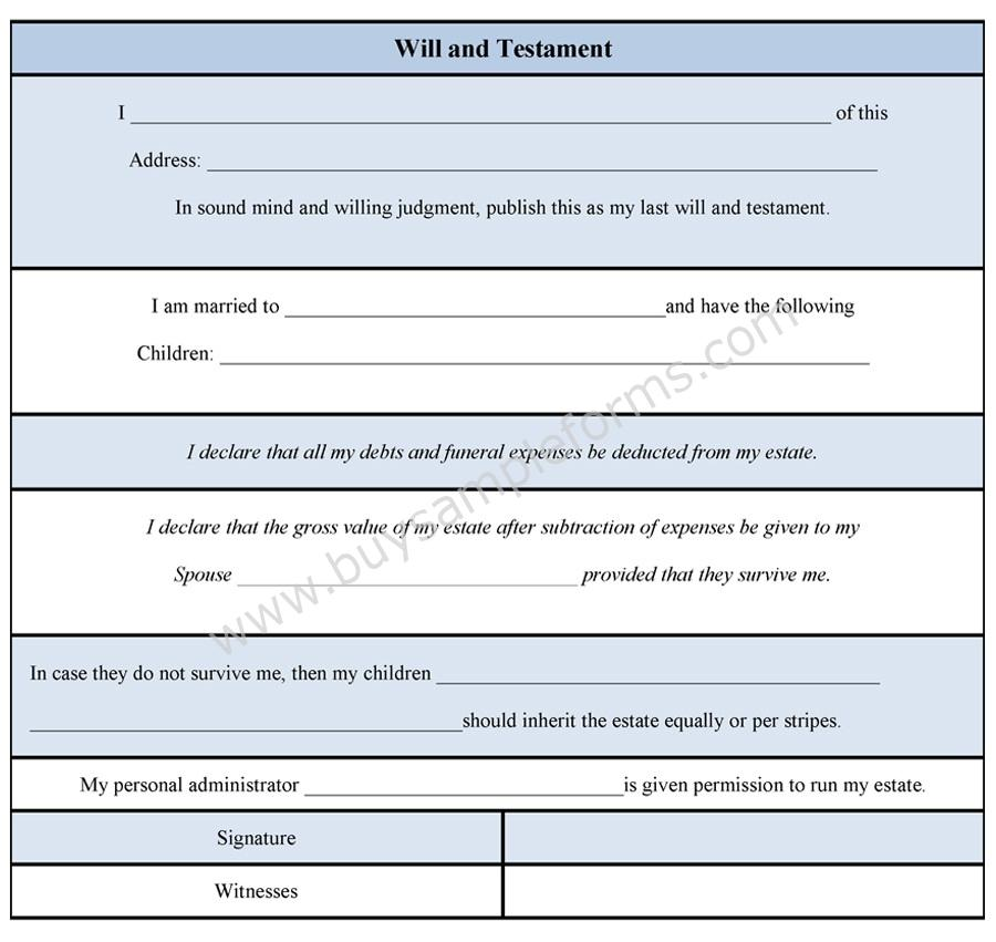 Will and Testament Form Testament Template Sample Forms - last will and testament form