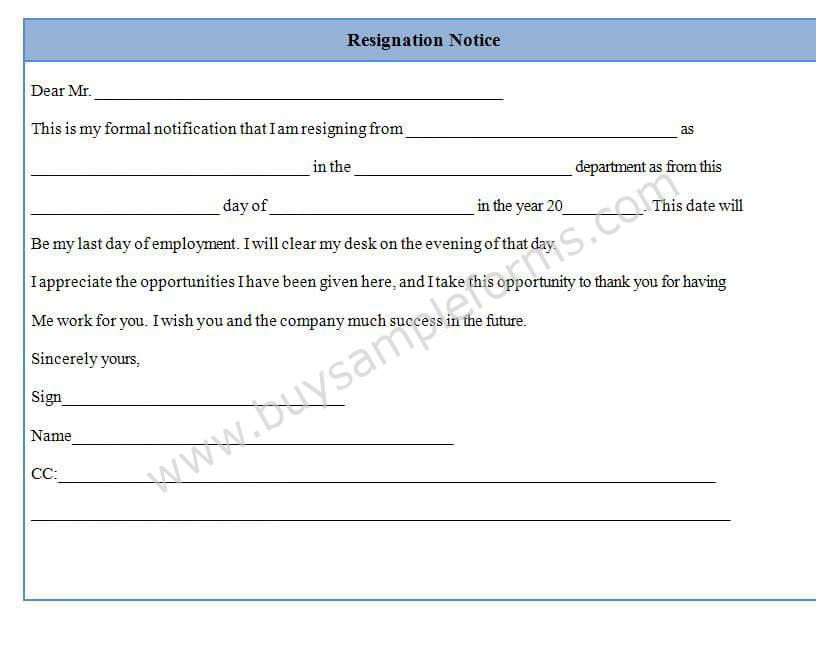 Download Job Application Form Templates For Free Formxls Resignation Notice Form Template Sample Format Sample Forms