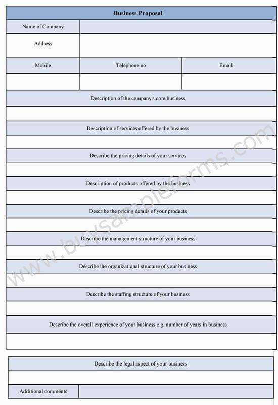 Business Proposal Form Template Word - proposal form template