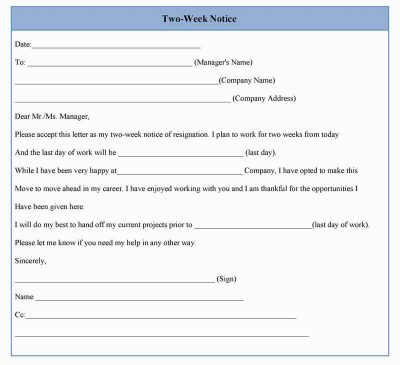 Two Week Notice Form Template in Word, Sample Format Sample Forms - notice form in word