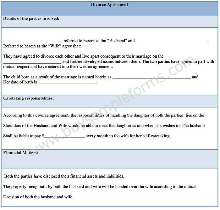Download Divorce Agreement Form Template Sample Divorce Settlement