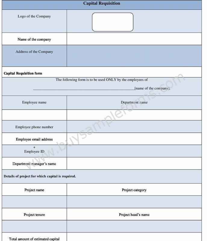 Capital Requisition Form Template in Word Format \u2013 Capital