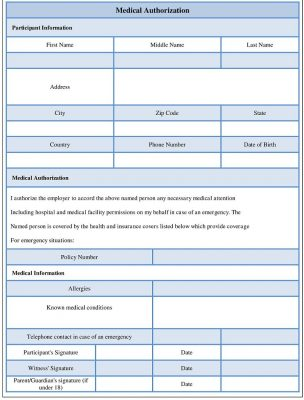 Medical Authorization form Word Template - Sample Forms