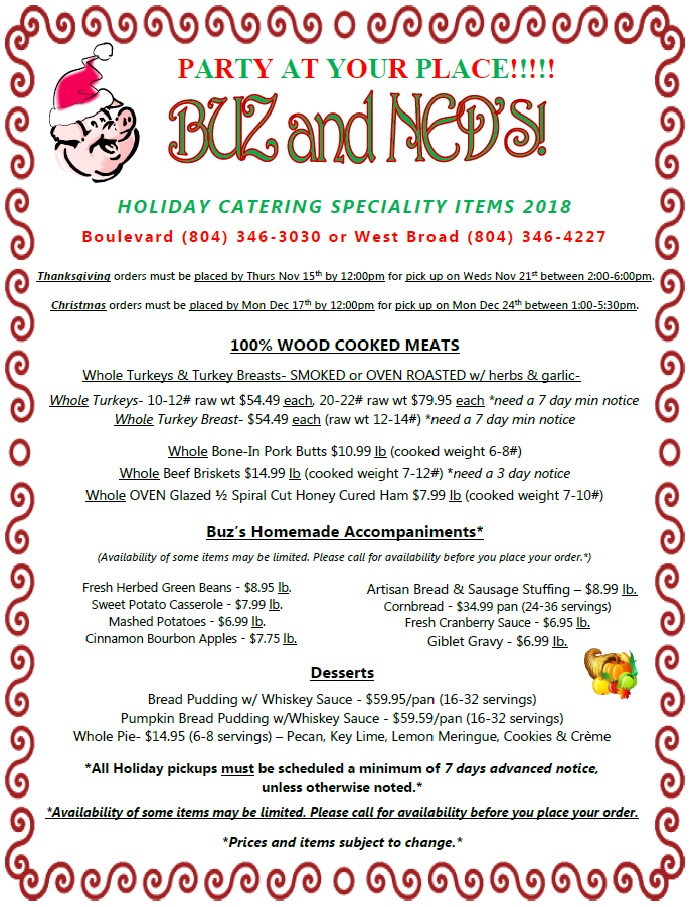 Menu - Buz and Ned\u0027s - Real Barbecue